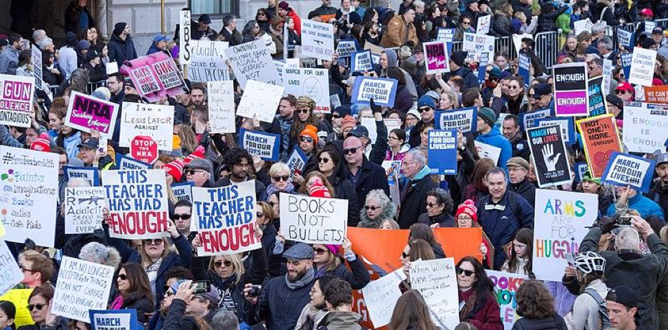 Protestors for gun reform at the March For Our Lives in 2018.